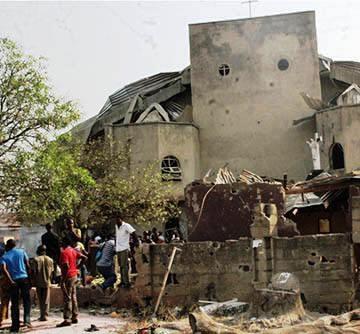 One of Nigeria's many bombed churches.